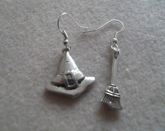 Witches Hat and Broomstick Earrings