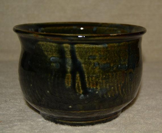 Bowl, Dish, Salad Bowl, Soup Bowl, Ice Cream Bowl, Rustic, Stoneware, Northern Woods, Green, Brown, Ceramic Bowl