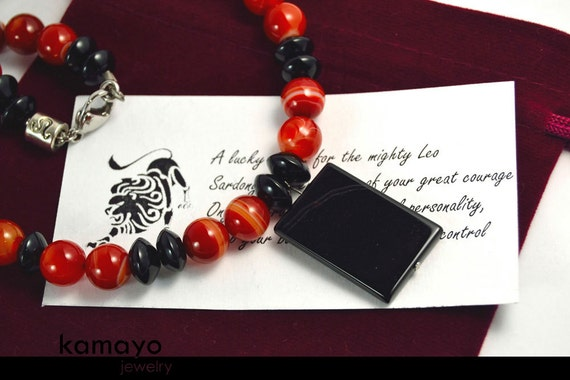 LEO CHOKER - Onyx Pendant and Sardonyx Beads with Black Onyx Accents