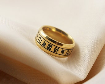 Holy Ring Necklace, Digicode, Gold Stainless Steel, Digimon Crest Tag, Courage Crest, Friendship Gift, Gatomon Ring, Digimon Cosplay