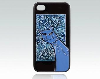 Blue Cat iPhone 4 case,  funny cat iPhone 4s cover, orient iPhone 4, 4s case, art iPhone 4s covers, old mosaic, illustration, unique