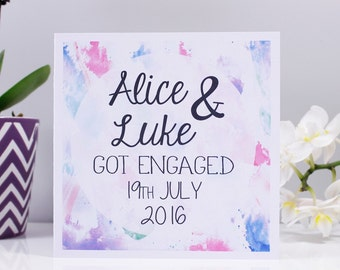 Engagement Watercolour Card - Engagement Card - Got Hitched Card - Personalised Card - She said yes card -Pretty  Engagement Card