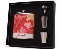 Wedding Party Gifts // Eight Personalized Flask Gift Sets for your Bridesmaids