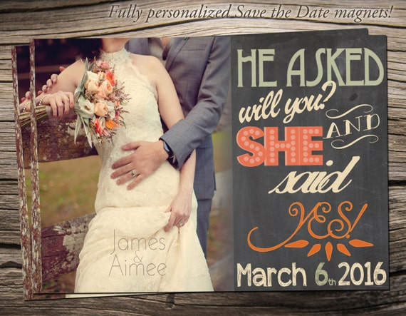 """Save The Date Magnet 5""""x7"""", Save The Date Announcement, Wedding / Engagement - S010"""