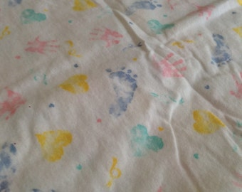 Baby print flannel, Nursery flannel fabric by the yard, white print cotton fabric, baby flannel