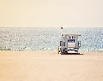 California Beach Photography - Manhattan Beach Life Guard- ocean print - Beaches