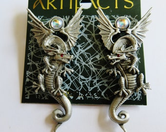Very Rare Winged Dragon JJ Jonette Pierced Earrings With Red Rhinestone Eyes And AB Accents