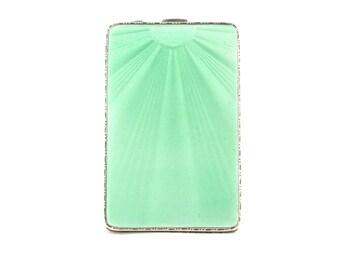 Guilloche Enamel Compact, Sterling Silver Compact, Vintage Enamel Compact, Green Enamel Compact