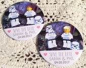 Wedding Save The Date Magnets Lego Star Wars Inspired Design (Complete With Organza Bags)