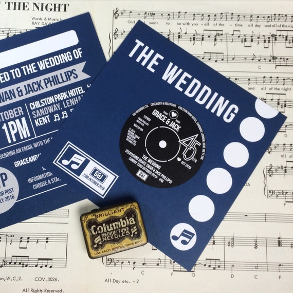 Wedding party invitations vinyl record design x 40 for Etsy vinyl wedding invitations