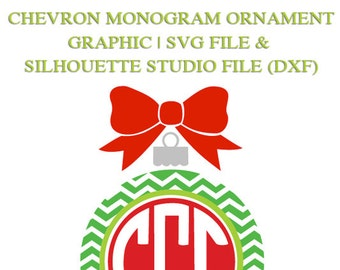Chevron Monogram Ornament Frame File for Cutting Machines   SVG and Silhouette Studio (DXF)