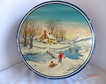 Vintage Blue Shabby Christmas Tin