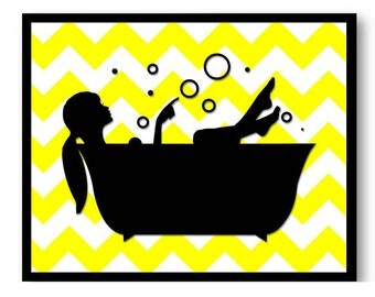 Yellow Black Bathroom Wall Decor Bathroom Wall Art Print Girl with Hair Up in a Bathtub Tub Bathroom Art Print Wall Decor Modern Minimalist
