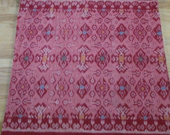 Hand woven pink Ikat fabric by the yard