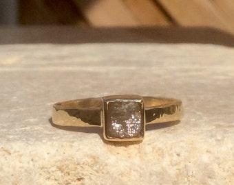 Rough Diamond Gold Ring, Raw Yellow Cube Diamond Gold Ring, Engagement Ring, Rough Diamond 14 kt Gold Ring