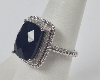 Natural Black Onyx with Natural Diamond Ring 925 Sterling Silver