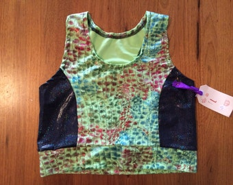 Green Reptile Crop Top, Size 14.