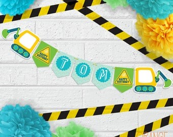 DIGGER Construction Sign Personalised Children's Birthday Party Banner Bunting