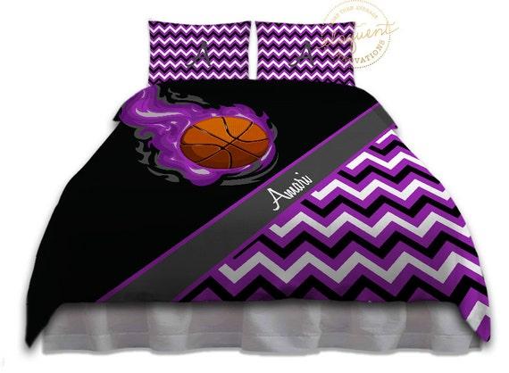 Girls Basketball Bedding Duvet Cover Purple Amp Black Chevron