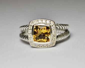 David Yurman Sterling Silver Petite Albion Ring with 7mm Citrine and Diamonds. SIZE 7