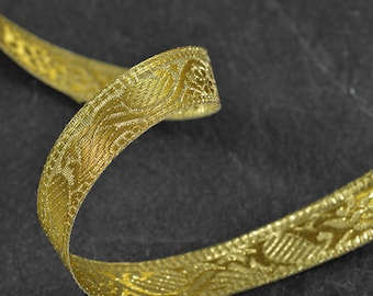 2-yards 21mm Metallic GOLD Jacquard Ribbon Trim, SMB-1002C