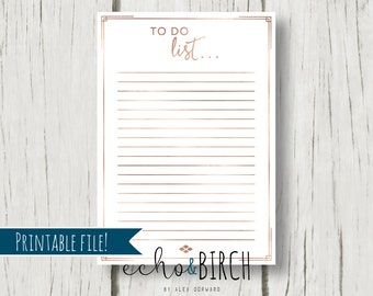 PRINTABLE To Do List in Rose Gold | Instant download! | Printable Stationery