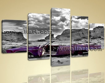"Large 5 Panels Vintage Car Contemporary Wall Art Home Decor Canvas Print Purple, Vintage Car hd print,  prints, 54""x32"""