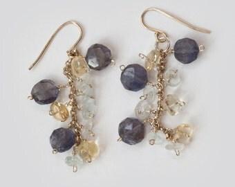 Dangle Earrings, Gemstone, Iolite, Citrine, Aquamarine, Sterling