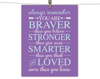 purple nursery art | inspirational quote kids wall art | children's art | you are braver than you believe nursery quote purple girls room