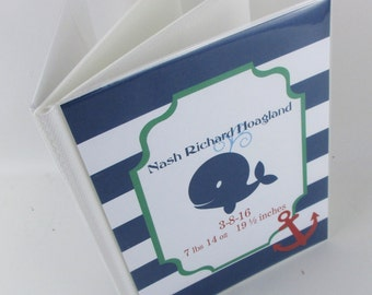 Baby photo album, 4x6 or 5x7 Nautical ahoy whale, grandmas brag book, boy baby album- personalized and custom 540