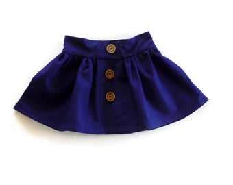 Girls skirt - toddler skirt - skirt for little girls - baby skirt - flat front skirt - girls navy blue skirt - navy blue skirt for girls
