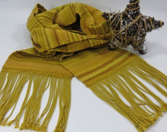 Woven Scarves - Autumn Gold Scarf - Golden Scarf - Handwoven Golden Scarf - Yellow Scarf