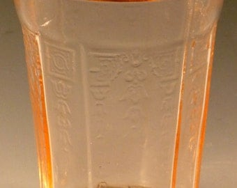 Princess Pink Depression Glass Water Tumbler 4 Inch 9 Ounce Flat Drinking Glass Hocking Glassware Vintage Authentic Excellent Shape
