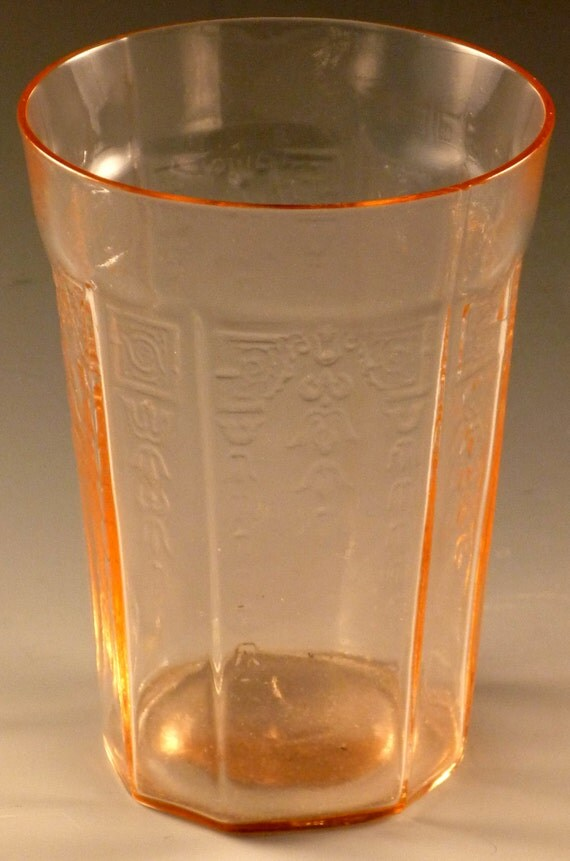 Princess Pink Depression Glass Water Tumbler 4 Inch 9 Ounce