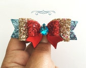 Elena of Avalor inspired glitter scepter hair bow,turquoise red and light gold glitter bow, Baby girl Headband, Birthday bows, leather bows