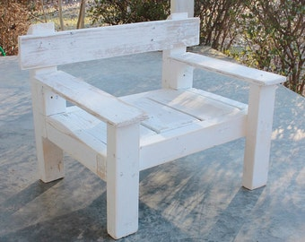 Reclaimed Wood Chair- Distressed White
