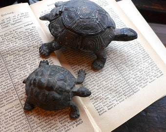 Antique Brass Turtle Figurine, Strange Vintage Brass Tortoise with Hinged Lid, Unusual Antique Ashtray or Incense Burner, Small Turtle Gift