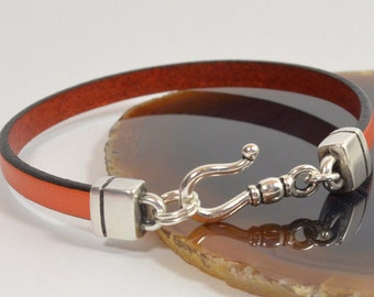 Multiple Sclerosis (MS) Awareness Bracelet - Orange 5mm Flat Leather with Antique Silver Hook Clasp (5A-355)