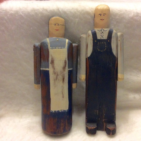 Wolf creek folk art carvings couple signed by artist betty