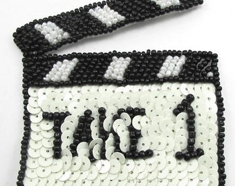 """Take 1 Movie Scene Clapperboard Applique with Black and White Sequins and Beads 4"""" x 3""""  -21052"""
