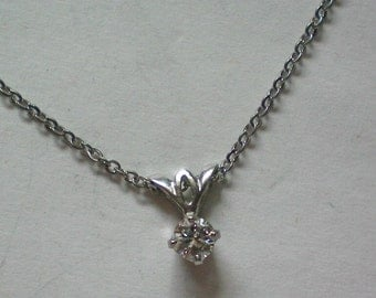 Solitaire Diamond Necklace in Sterling Silver - 4764