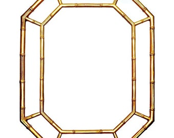 Vintage Hollywood Regency Gold Faux Bamboo Octagon Mirror