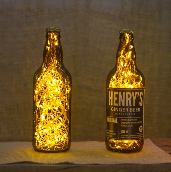 vintage look beer bottle lamp upcycled recycled from. Black Bedroom Furniture Sets. Home Design Ideas
