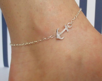 Anchor Ankle Bracelet/Sterling Silver/Cubic Zirconia/Navy Wife Anklet/Gold Anchor Anklet/Ankle Bracelet/Anchor and CZ Anklet