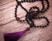 Mala Prayer Beads, Mala Necklace, Long Bohemian Necklace, Purple Silk Tassel, Boho, Long Beaded Necklace, Black Wood Beads, Czech Glass