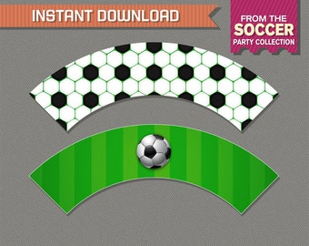 Soccer Cupcake Wrappers - Soccer Birthday - Soccer Party - Instant Download - Print at home with Adobe Reader