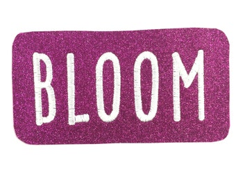 Personalised Name Badge Embriodered Patch Glitter Felt Sew On Label Hot Pink