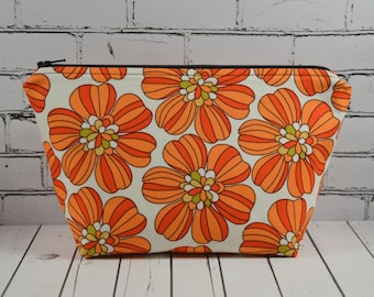 Retro Orange Floral Makeup Bag, 1970's Inspired Cosmetic Bag