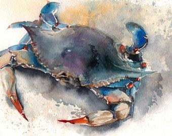 Blue Crab Watercolor Original Painting, Sea Creatures Painting, Sea Life, Watercolour Art