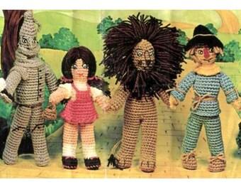 Vintage Crochet Pattern Wizard of Oz Dorothy Lion Tin Man Scarecrow  Retro 1970s Soft Toy